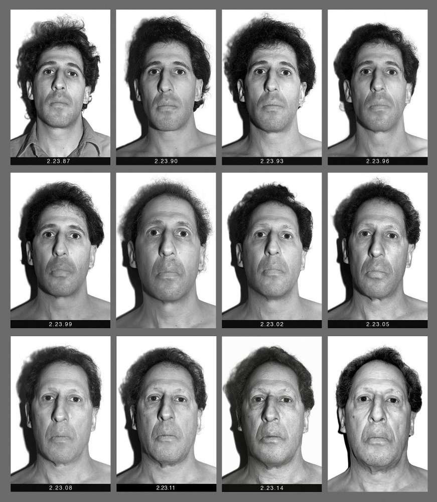 "This panel of black and white self-made photographs shows Baden over the last three decades beginning Feb. 23, 1987, top left, through Feb. 21, 2017, lower right. The Boston College professor's ""Every Day"" project has chronicled his visage in nearly 11,000 photos."