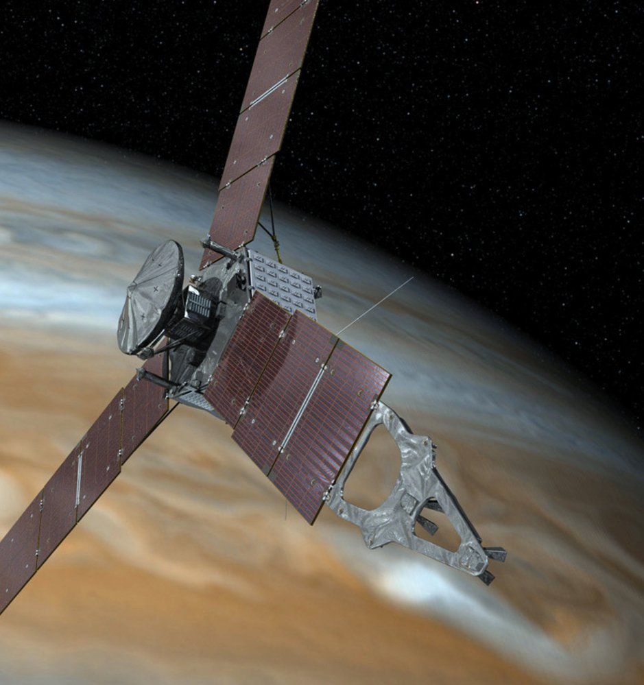 An artist's rendering shows NASA's Juno spacecraft making a close pass over the planet Jupiter.