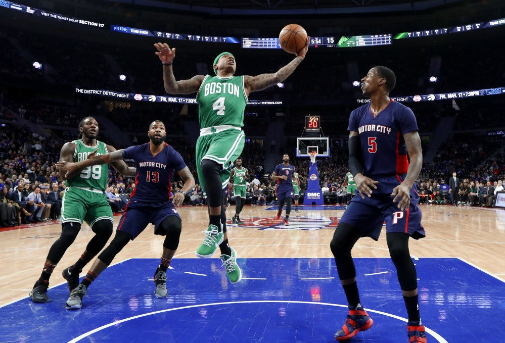 Celtics guard Isaiah Thomas scored 33 points and Boston beat Detroit 104-98 on Sunday in Auburn Hills, Michigan.