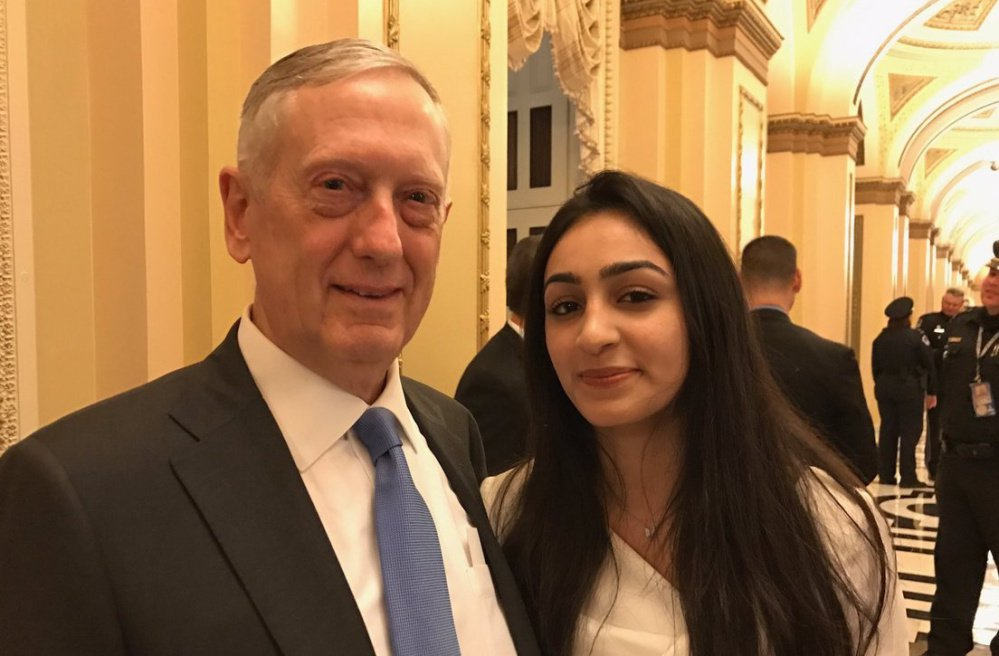 """Banah Al-Hanfy poses with Secretary of Defense James Mattis before President Trump's speech Tuesday night. Mattis told Banah """"you are most welcome here,"""" according to Maine's U.S. Rep. Chellie Pingree."""