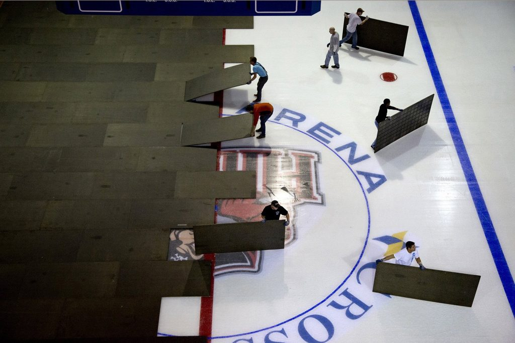 The crew at the Cross Insurance Arena prepares for a Portland Pirates game in October 2014. Four groups have submitted proposals to bring pro hockey back to Portland.