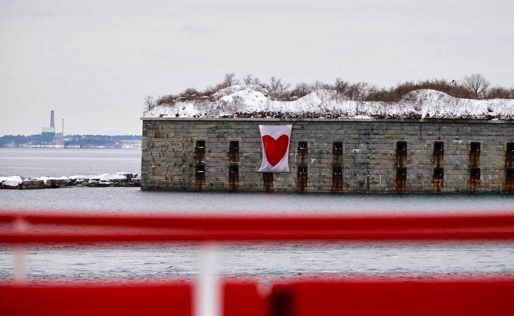 The Valentine'd Day Bandit struck in dramatic fashion on Tuesday, spreading a heartfelt message on Fort Gorges in Casco Bay, possibly the best - or the scariest – yet.