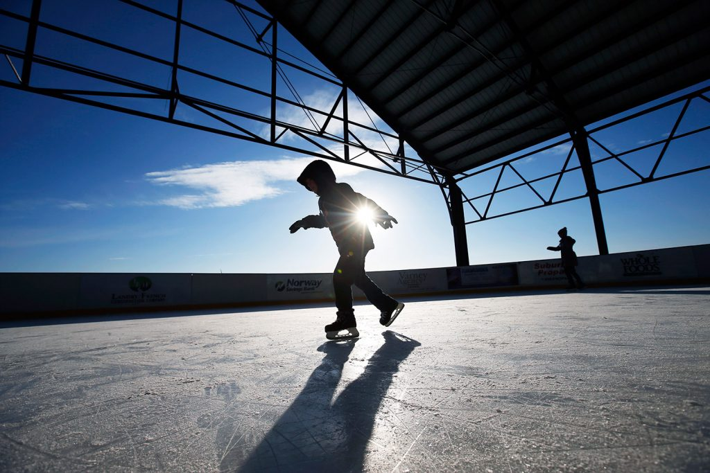 Jack Fuller, 8, of Portland skates at Thompson's Point on Tuesday, his second consecutive snow day off from school.