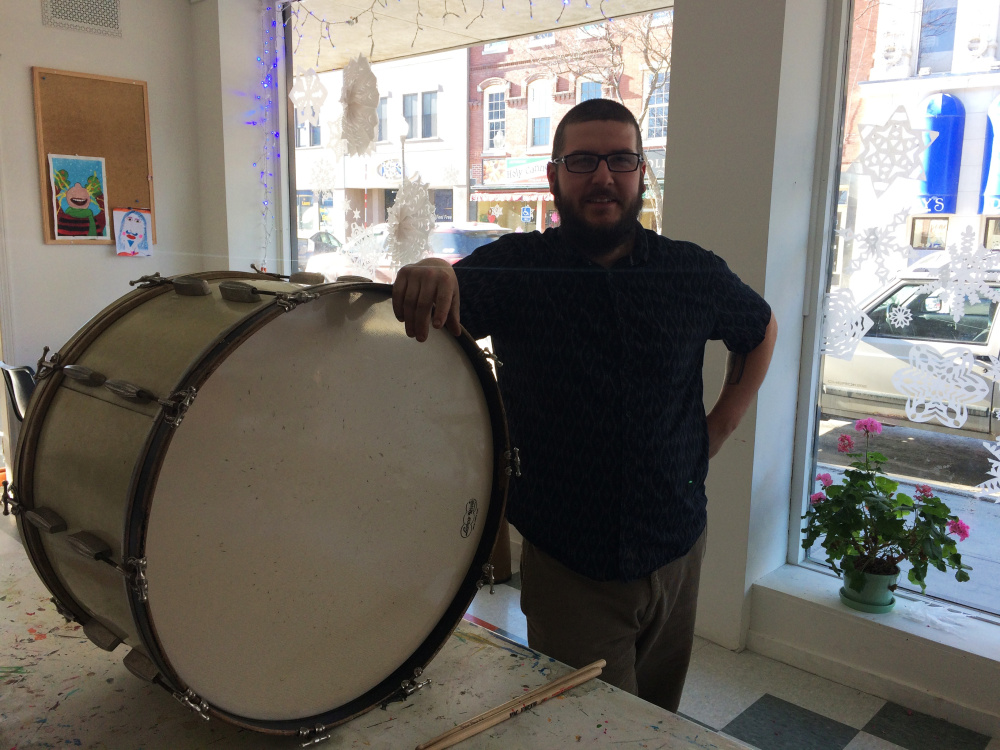 Ben Bowman, drum instructor at Snow Pond Music Community School, at Common Street Arts in The Center building in downtown Waterville.