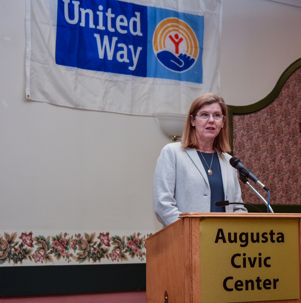 Emilie van Eeghen, chief behavioral health officer for MaineGeneral Health, speaks on the opiate epidemic in central Maine at the United Way of Kennebec Valley annual meeting Thursday at the Augusta Civic Center.
