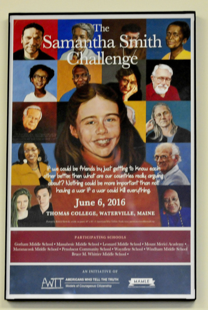 This poster of portraits by artist Robert Shetterly depicting people who are part of the Samantha Smith Challenge and have made a positive contribution to society was shown Thursday during a presentation by Shetterly at Thomas College in Waterville.