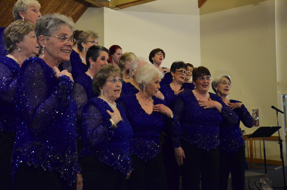 Maine-ly Harmony women's chorus will send a quartet to serenade that special someone on Valentine's Day.