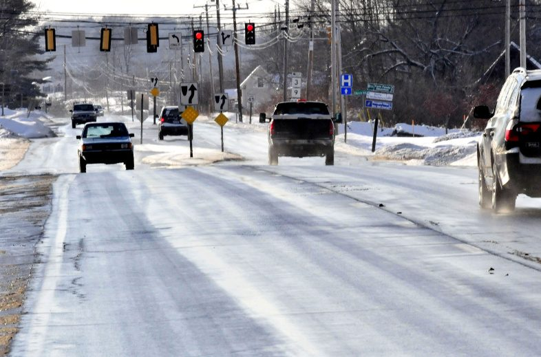 Traffic moves in both directions Wednesday on Route 3 near the Church Hill Road intersection in Augusta. The Maine Department of Transportation is planning to install rumble strips between Augusta and China on the busy road in an effort to help prevent head-on crashes.