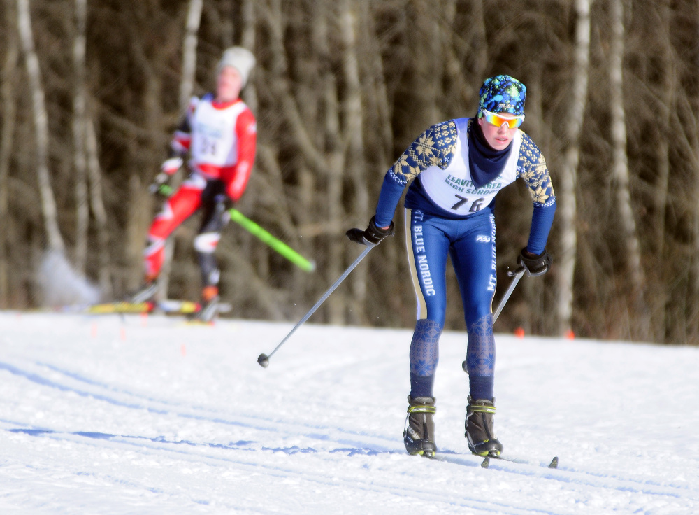 Mt. Blue's Mick Gurney skis around a field during the Hornet Classic last month at Leavitt Area High School in Turner.