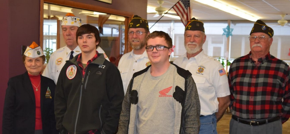 In front, from left, are Debra Couture, Post 9; Derek Zack, first place winner; McKale Smart, second place winner. In back, from left, are Roger McLean, Commander, Post 9; Roger Line, Greg Couture, and Ted Smith, both of Post 9.