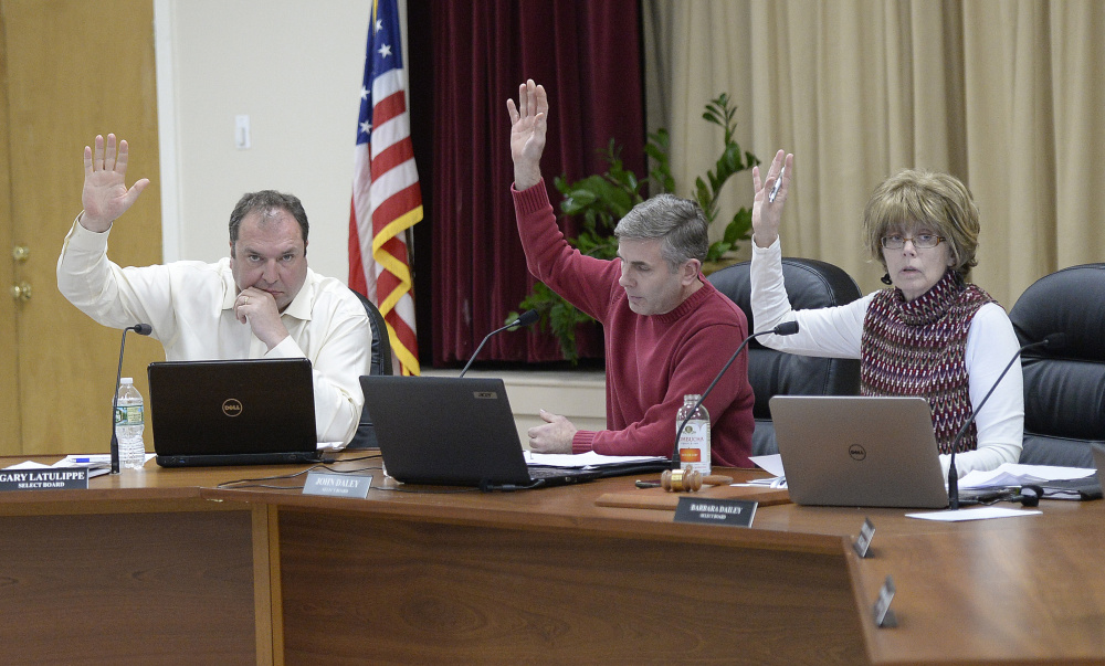 OGUNQUIT, ME - FEBRUARY 7: Ogunquit Select Board members vote to accept Town Manager Thomas Fortier's letter of resignation Tuesday, February 7, 2017. L to R are Gary Latulippe, John Daley and Barbara Dailey. (Photo by Shawn Patrick Ouellette/Staff Photographer)