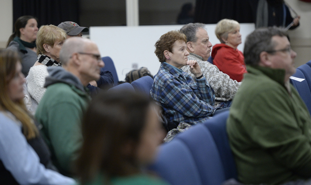 OGUNQUIT, ME - FEBRUARY 7: The crowd listens as Ogunquit Select Board members accept Town Manager Thomas Fortier's letter of resignation Tuesday, February 7, 2017., February 7, 2017. (Photo by Shawn Patrick Ouellette/Staff Photographer)