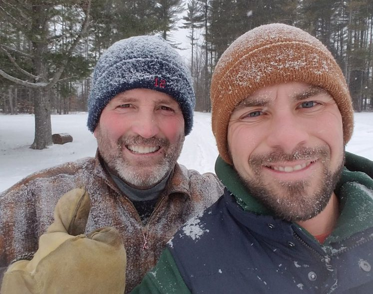 Dickie Browne, left, with his son Taylor Browne. Dickie Browne was tied up and held at gunpoint Saturday after a burglar ransacked the man's house in Vassalboro, according to his son.
