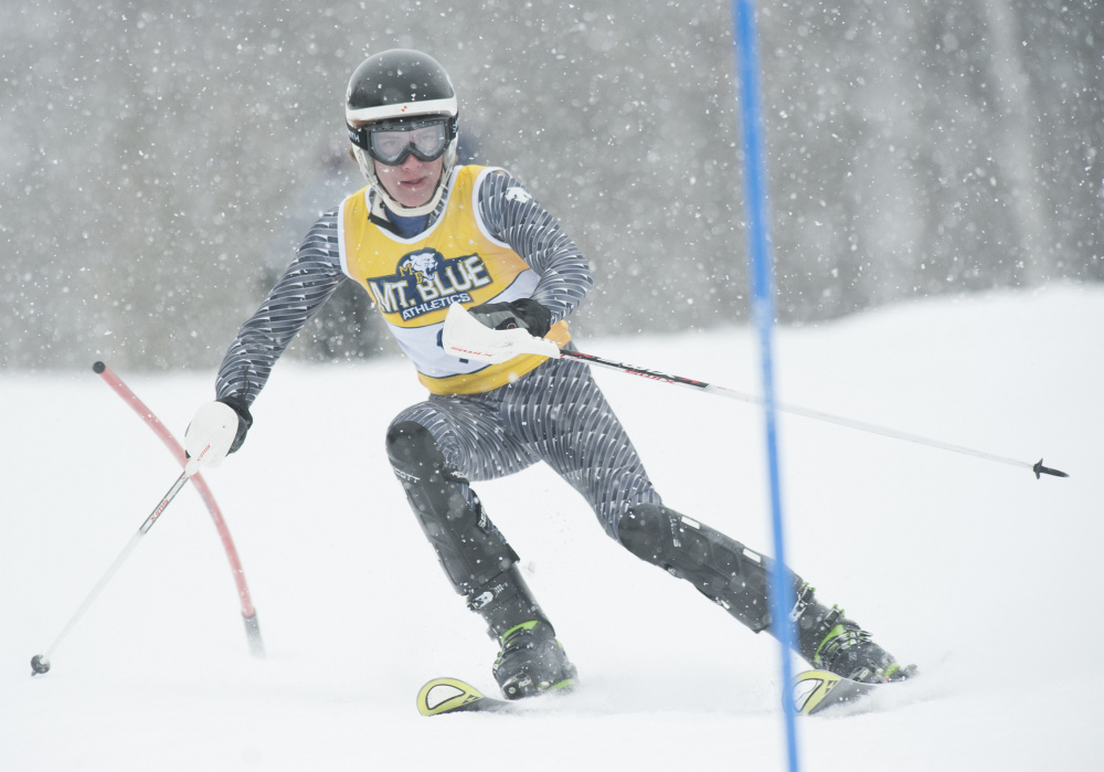 Lucas Lenfest of Skowhegan competes in the Kennebec Valley Athletic Conference Championships on Saturday at Titcomb Mountain.