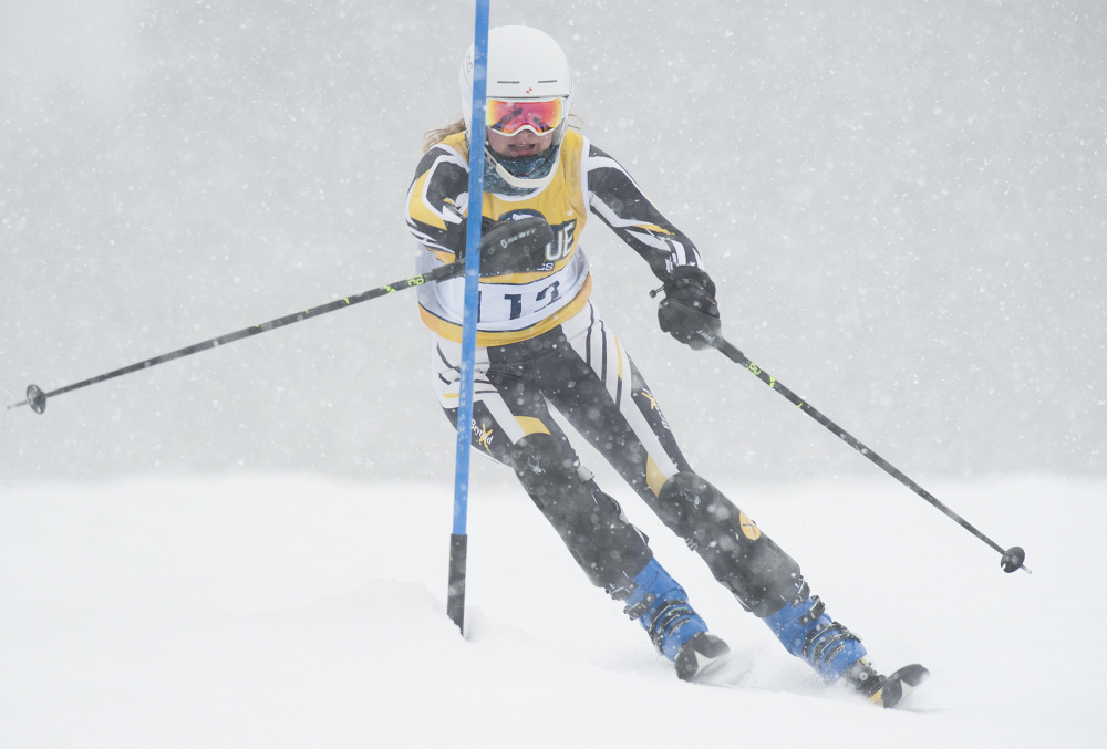 Katie Ide of Maranacook competes in the Kennebec Valley Athletic Conference Championships on Saturday at Titcomb Mountain.