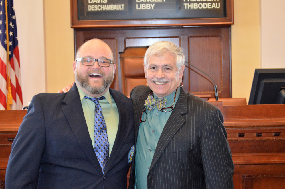 Jordan Shaw, of Farmington,  left, with Sen. Tom Saviello, R-Wilton.  Shaw served as Pastor of the Day Feb. 7 at the Maine State Senate in Augusta. He is pastor at Trinity United Methodist Church in Farmington.