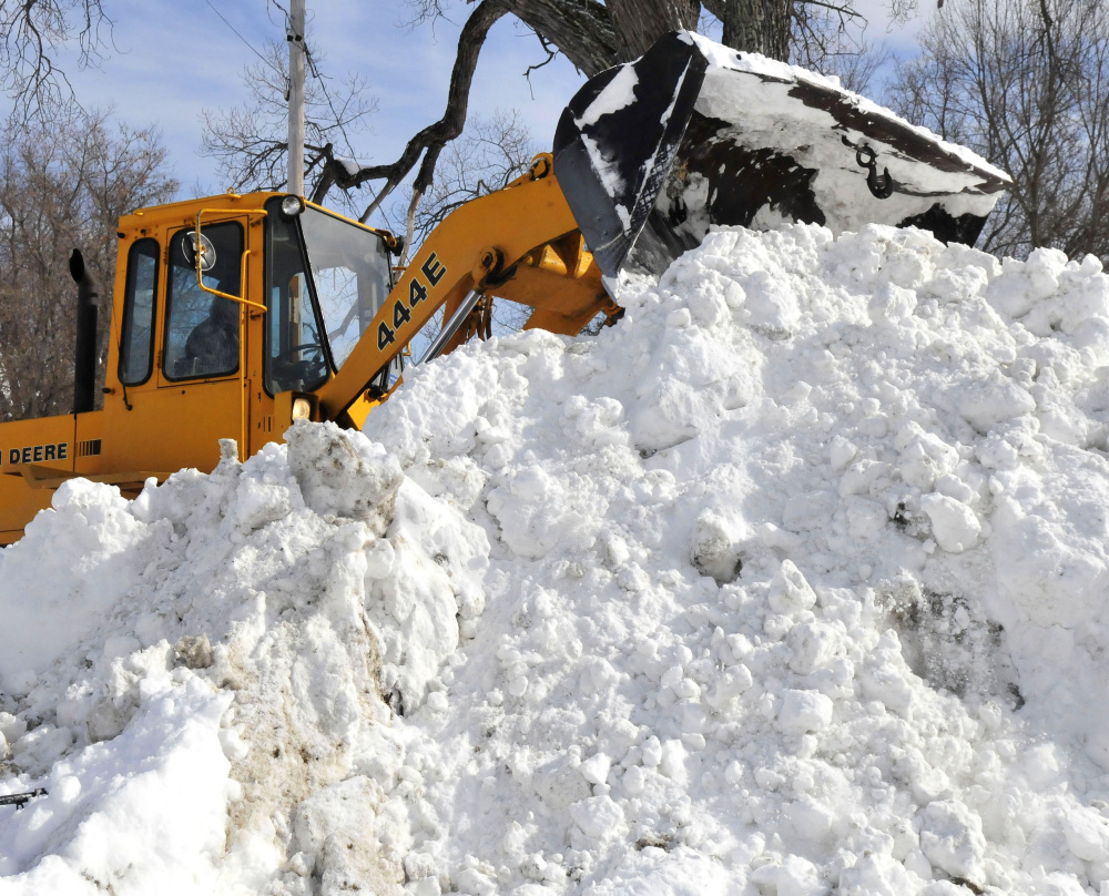 Starks Highway Department employee and Fire Chief Bill Pressey on Tuesday said it was a challenge to find room to dump snow in Starks village to make room for the predicted storm today. Upward of 30 inches of snow reportedly fell Monday in Starks.