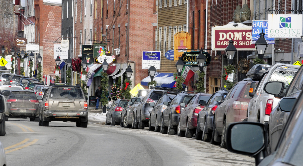 This January photo shows a long line of cars parked on Water Street in downtown Hallowell. The downtown part of the street is scheduled to be rebuilt in 2018, funded in part by a bond proposal likely to go before the city's voters this spring.