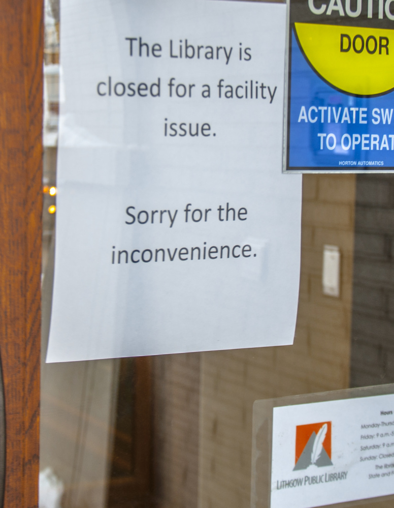 A sign tells visitors to the Lithgow Public Library on Wednesday that the library is closed.