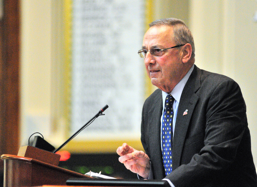 AUGUSTA, ME - FEBRUARY 7: Gov. Paul LePage delivers his State of State Address on Tuesday Feb. 7, 2017 to a joint legislative convention in the Maine State House in Augusta. (Staff photo by Joe Phelan/Staff Photographer)