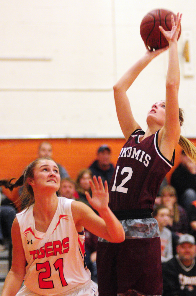 Gardiner sophomore forward Aimee Adams, left, defends Nokomis senior Olivia Brown during a Kennebec Valley Athletic Conference Class A game last month in Gardiner.