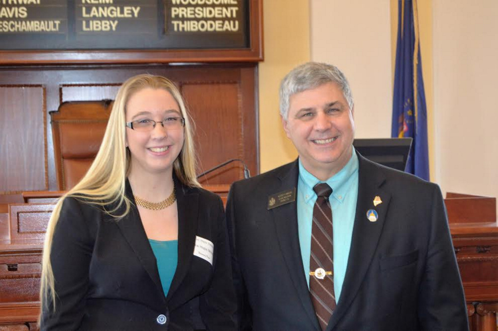 Olivia Hope Moody, of Winslow, a 4-H member, served as an Honorary Page Feb. 2 at the Maine State House. With Moody is Sen. Scott Cyrway, R-Benton.