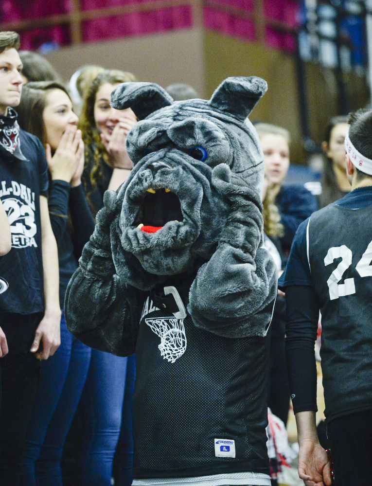 The Hall-Dale mascot can't believe what transpired in the final moments of a Class C South boys quarterfinal game Monday against North Yarmouth Academy.