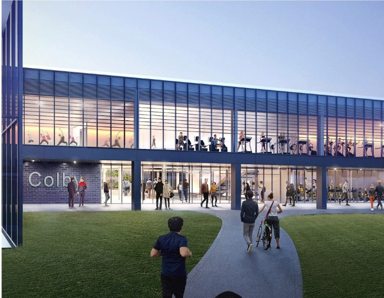 A conceptual rendering shows what a new athletic complex might look like at Colby College in Waterville.