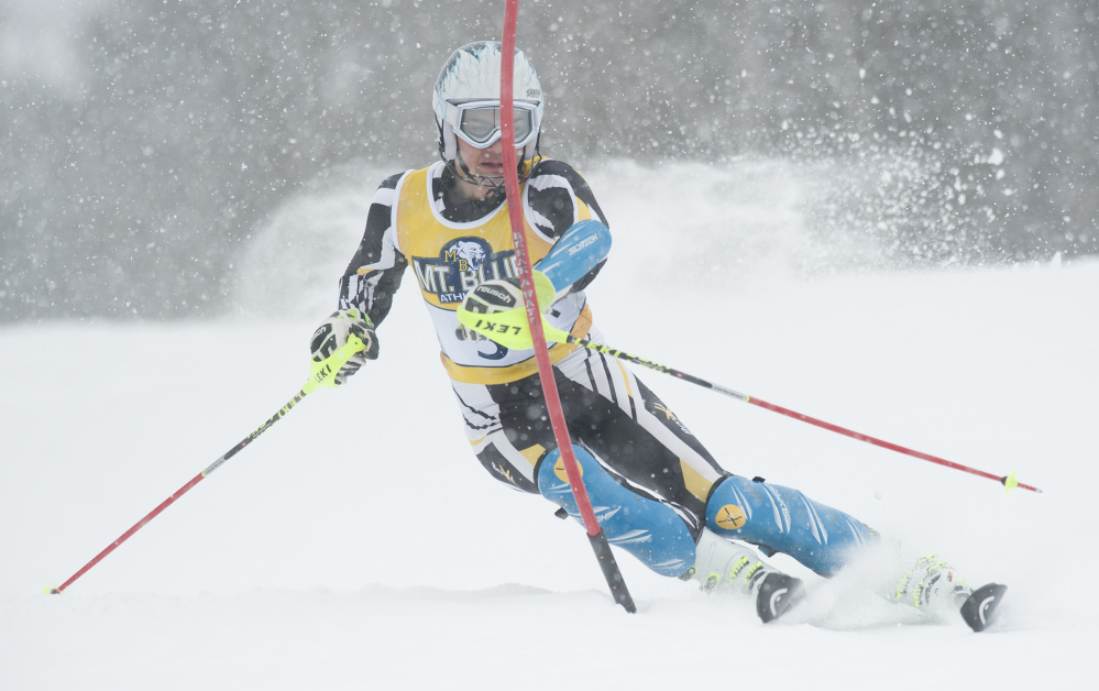 Maranacook senior Nathan Delmar competes in the Kennebec Valley Athletic Conference and Mountain Valley Conference Alpine championships earlier this month.