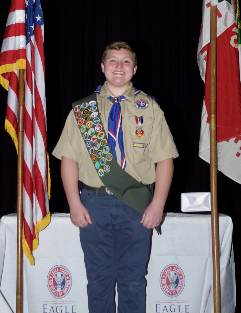 Andrew Walker, of West Gardiner, was presented his Eagle Scout award on Jan. 22 at Gardiner Area High School's Little Theater.