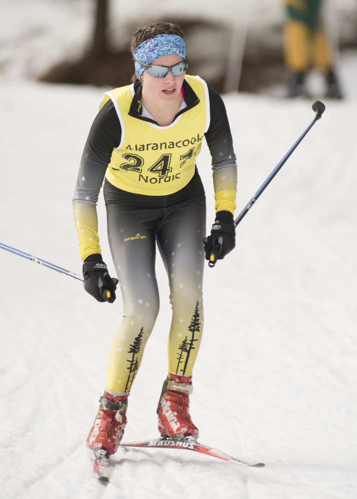 Laura Parent of Maranacook competes in the Maranacook Wave race last month in Readfield. Parent helped the Black Bears win the Class B state Nordic title Thursday.