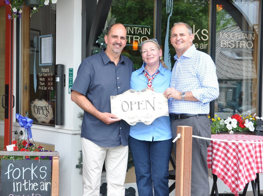 Left to right are Steve Kupstas, co-owner; Karen Seaman, general manager; and Mike Kupstas, co-owner, of the Forks in the Air Mountain Bistro in Rangeley.