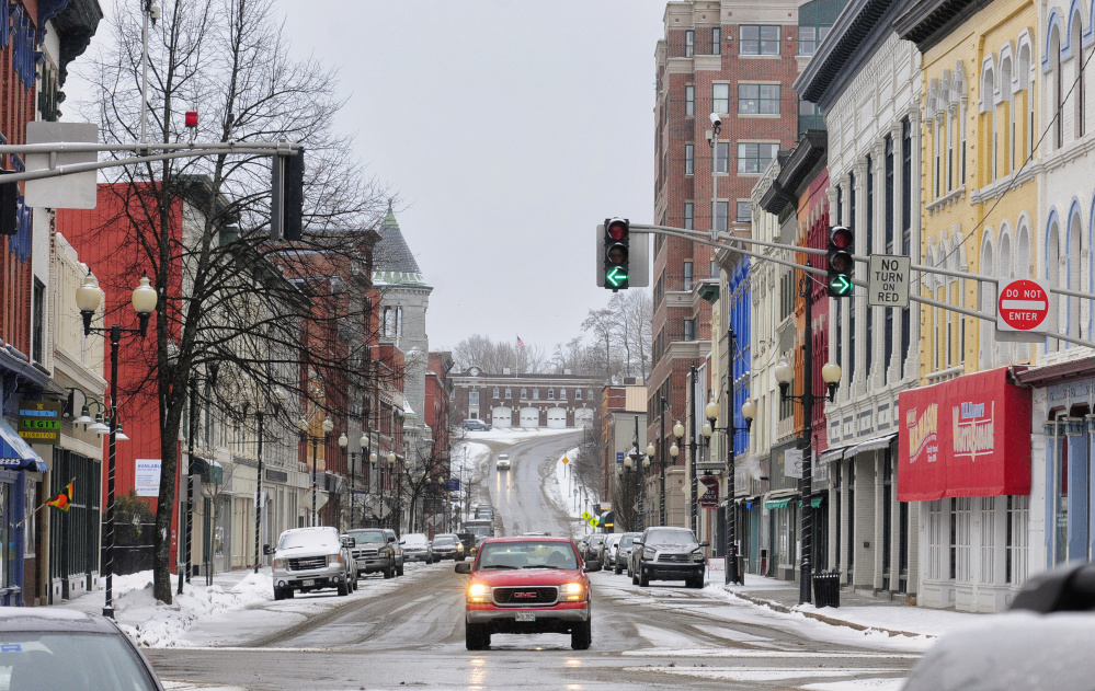 This February file photo shows the one-way northbound traffic on Water Street in downtown Augusta. Augusta City Council is once again discussing the possibility of opening the road to two-way traffic.