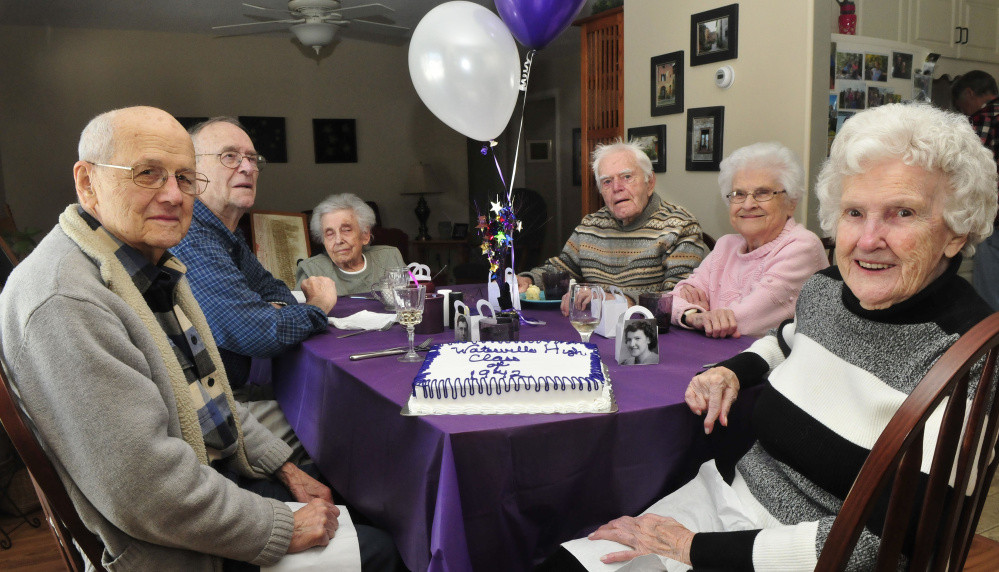 Members of the Waterville High School graduating class of 1942 got together recently to remember the old days and have lunch and cake. From left are Lucien Veilleux, Reggie Bizier, Dollis Bizier, Burns Hillman, Dorothy Doucette and Lucille Cram.