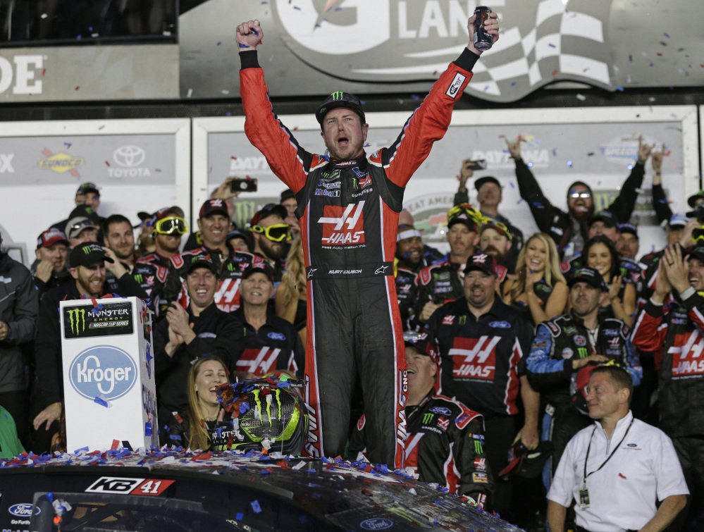 Kurt Busch celebrates in Victory Lane after winning the Daytona 500 on Sunday at Daytona International Speedway in Daytona Beach, Florida.
