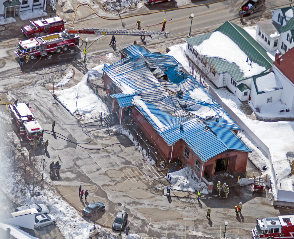 This aerial photo shows the fire damage on Feb. 21 at the post office in Winthrop, which will now have to be torn down because of the extensive damage.