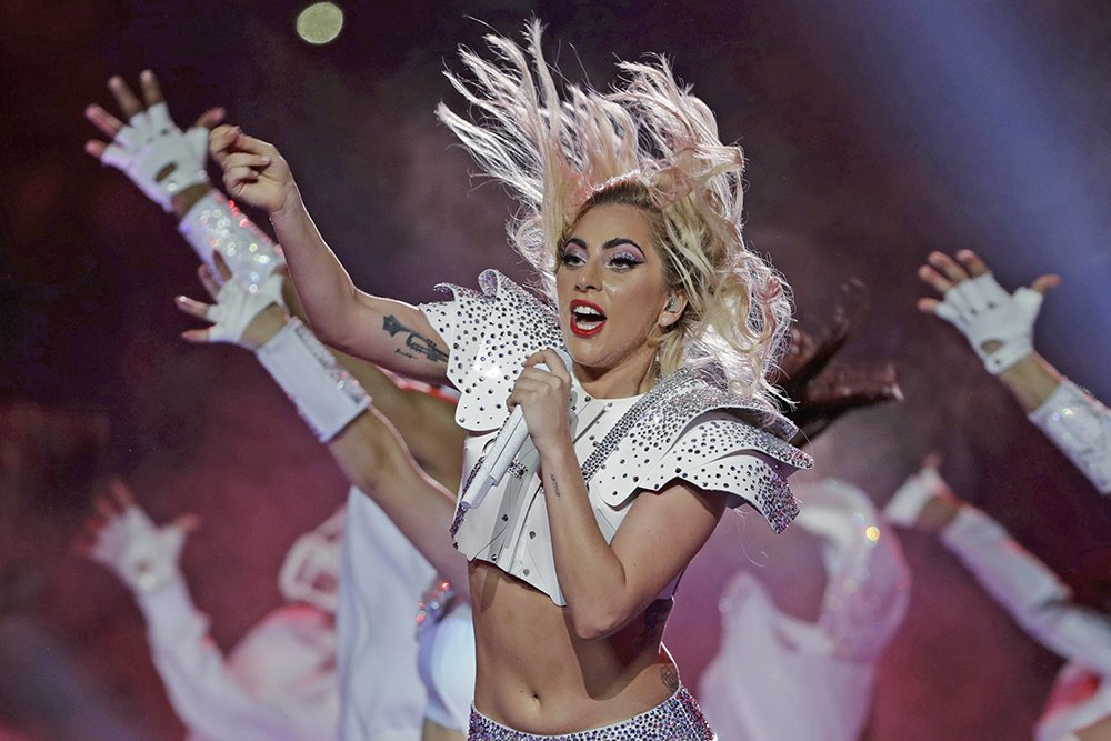 Lady Gaga performs during the halftime show of Super Bowl LI Sunday night in Houston.