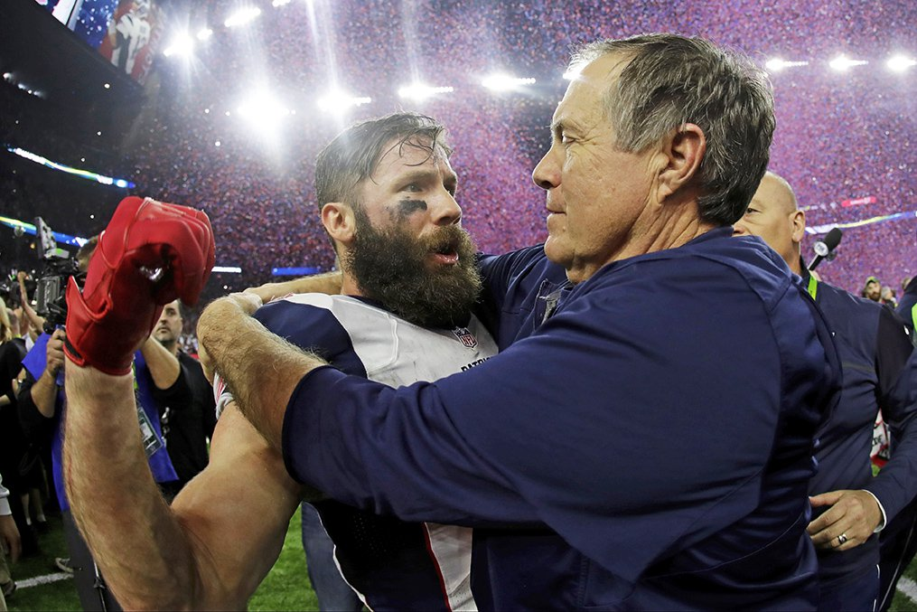 "Coach Bill Belichick congratulates Julian Edelman after Sunday's miraculous comeback win over the Falcons in the Super Bowl. Belichick said Monday that even when the Patriots got far behind, ""There was never any doubt in anyone's eye"" that they could win."