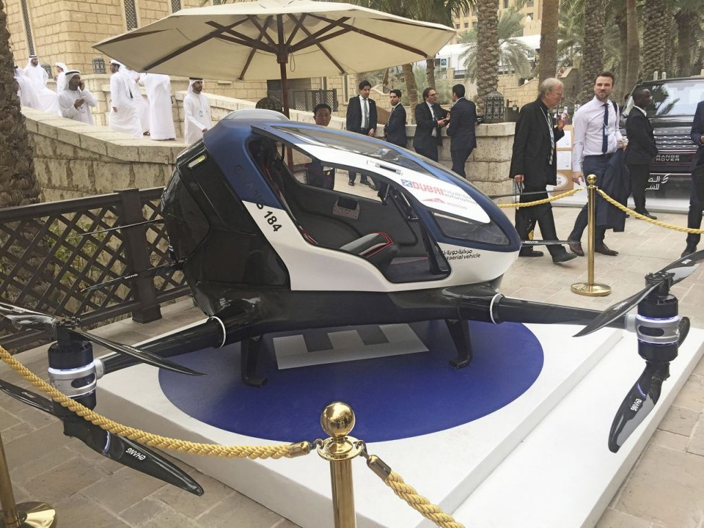An EHang 184, a Chinese-made drone that is being tested for potential use as a Dubai air taxi, is on display at the World Government Summit in Dubai, United Arab Emirates, Monday.