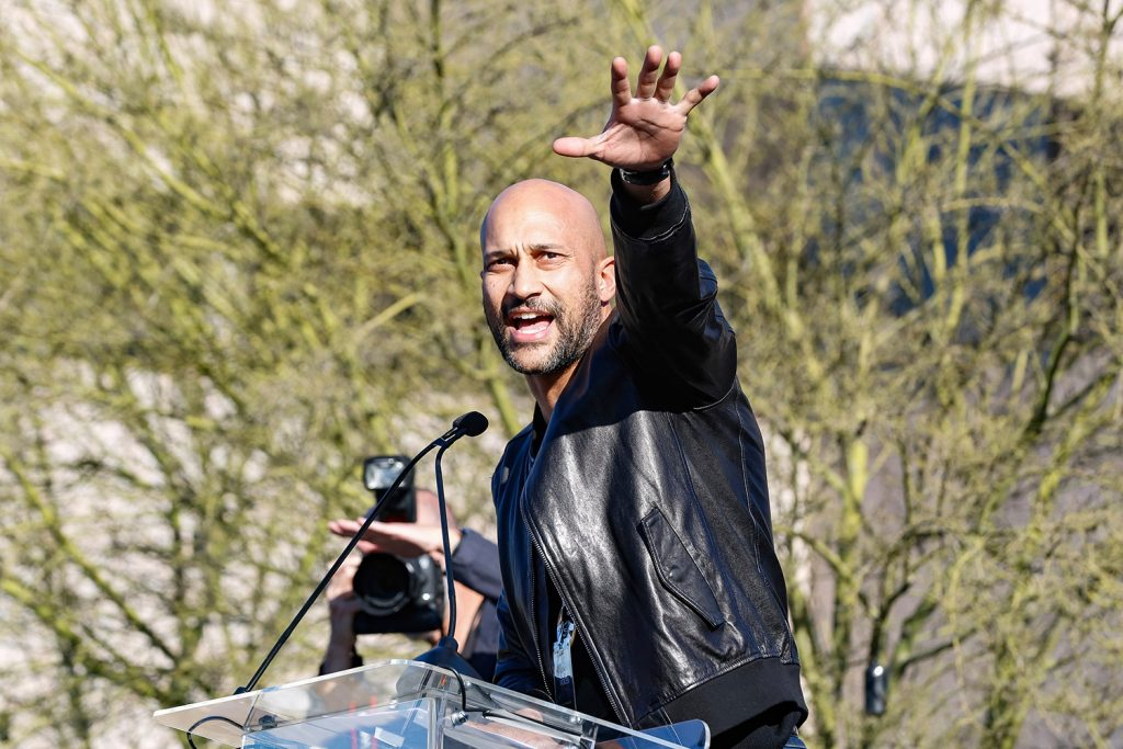 "Keegan-Michael Key welcomed all to the rally, including a handful of Trump supporters, because ""this is America, where you get to believe what you want."""