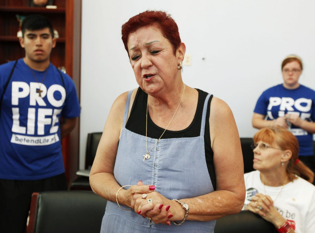 Norma McCorvey, the plaintiff in the landmark lawsuit Roe v. Wade, speaks up as she joins other anti-abortion demonstrators inside the office of House Speaker Nancy Pelosi in Washington on July 28, 2009.
