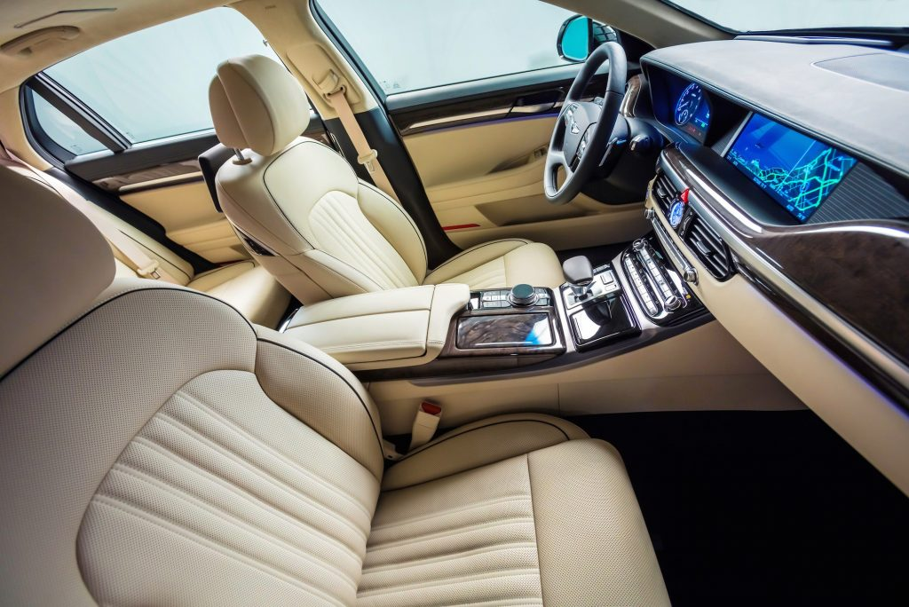 Interiors are swathed in leather, wood and aluminum.