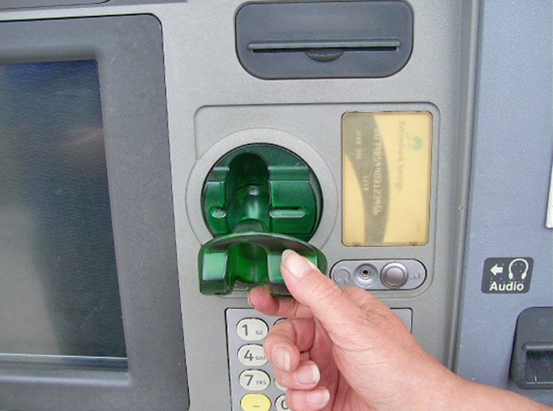 A skimmer device can record an ATM card's information to hack into the account. The one seen here was found on a Kennebunk Savings Bank ATM in June 2016.