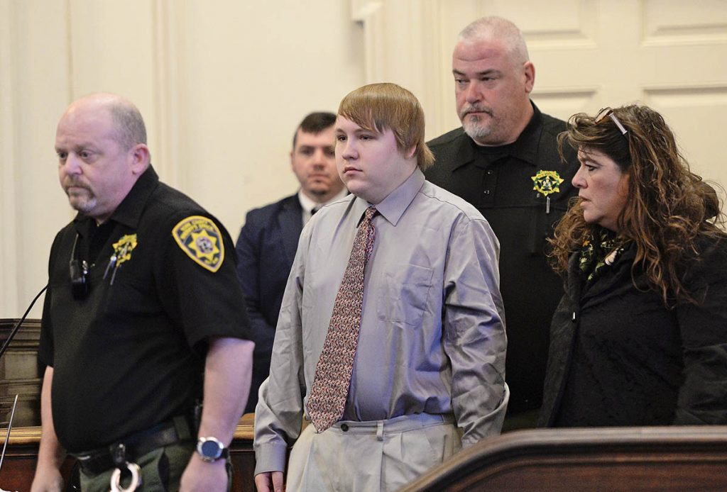 Dylan Collins appears for sentencing at the York County Courthouse on Monday. Collins' mother has said he had exhibited behavioral problems since he was a child and the problems seemed to worsen in the months leading up to the fire.