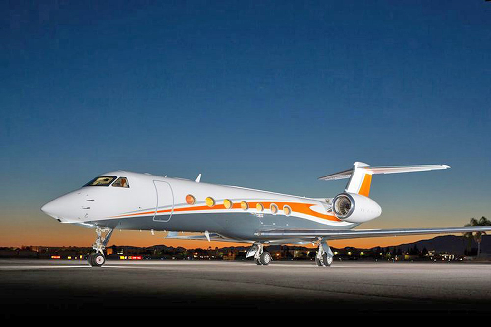 A Gulfstream 550 outfitted for last year's Super Bowl with Broncos colors).