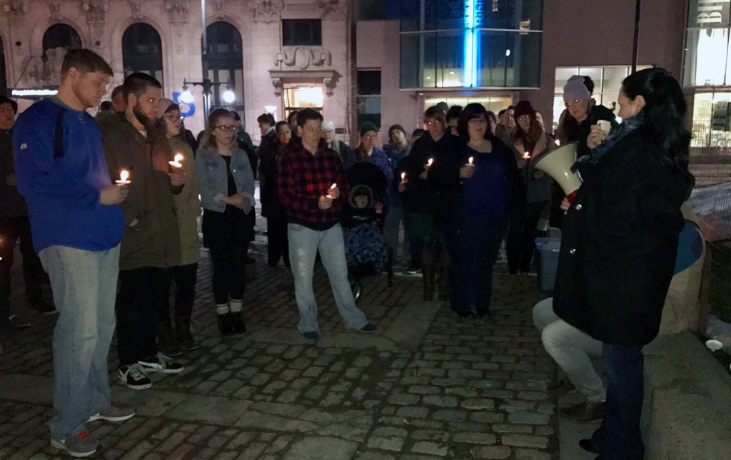 About 70 people attend a vigil Friday night in Monument Square held in memory of Chance David Baker.