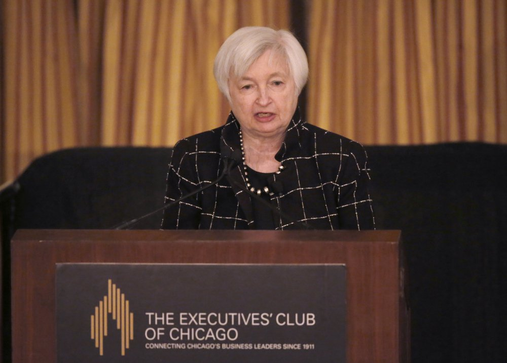 "Federal Reserve Chair Janet Yellen addresses the Executives' Club of Chicago on Friday. Yellen said, ""The U.S. economy has exhibited remarkable resilience in the face of adverse shocks."""
