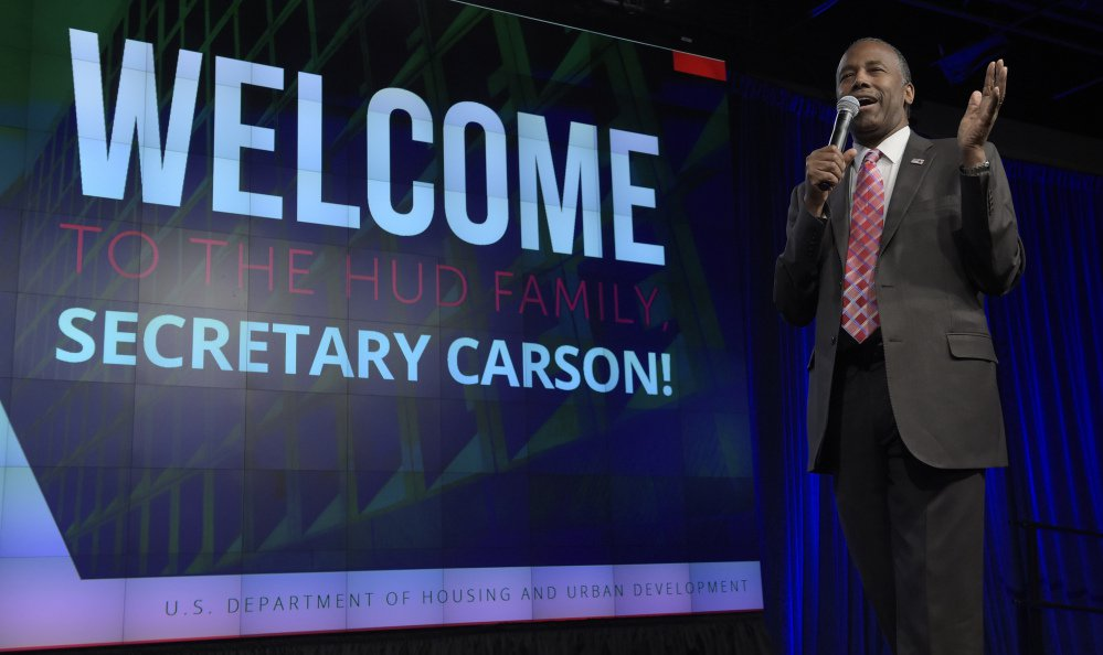 Housing and Urban Development Secretary Ben Carson speaks to HUD employees in Washington on Monday. He told them that slaves came to America with the same hopes and dreams as early immigrants.