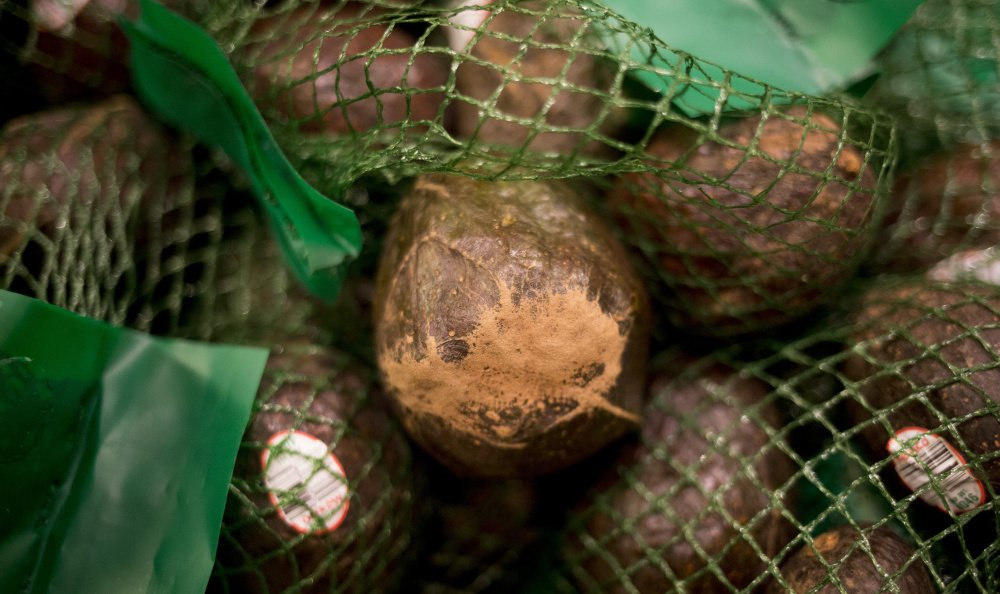 "Avocados that have superficial flaws are set aside and put in the ""misfit"" display at the Hannaford store in Yarmouth."