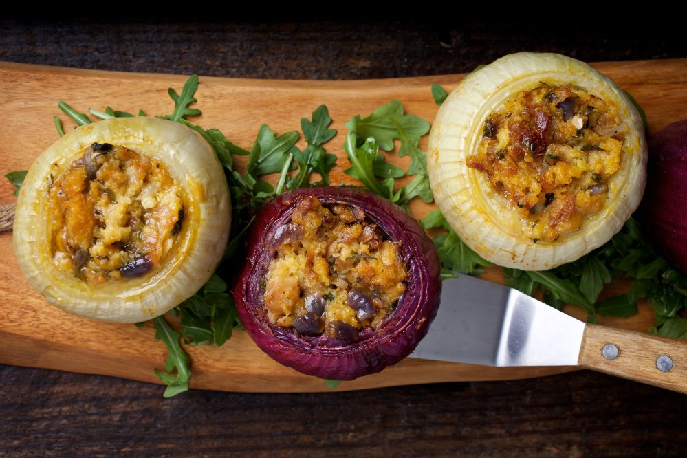 Onions stuffed with herbs and cheese. Onions offer a wealth of possibilities: gently stewed until mild and sweet, caramelized or slowly simmered until silken and creamy.